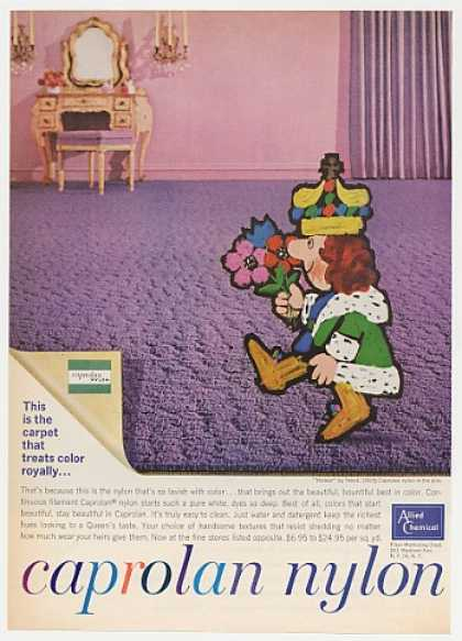 Allied Chemical Caprolan Nylon Carpet King art (1963)