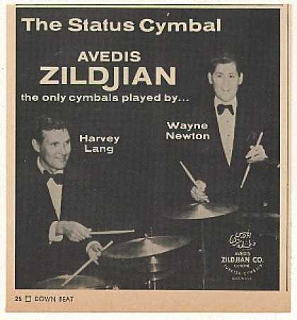 Harvey Lang Wayne Newton Zildjian Cymbals Photo (1969)