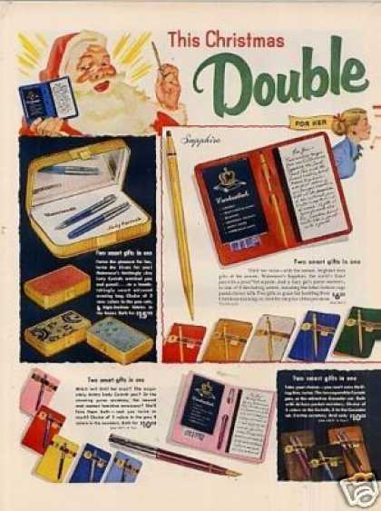Waterman's Pens Ad 2 Page (1953)