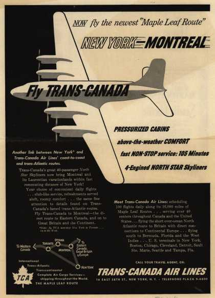 "Trans-Canada Air Line's Montreal – NOW fly the newest ""Maple Leaf Route"" New York-Montreal (1950)"