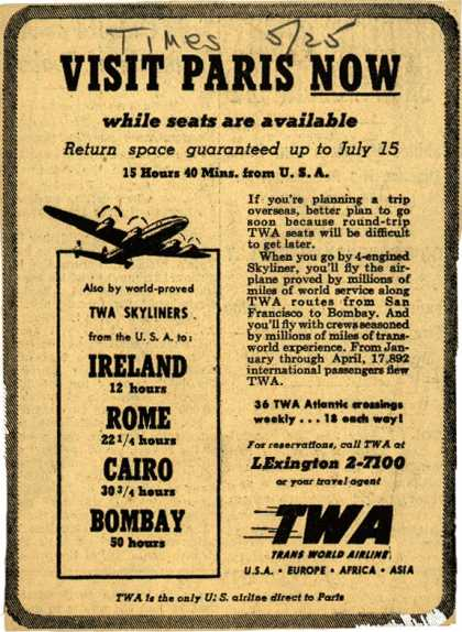 Trans World Airline's Paris – Visit Paris Now (1948)