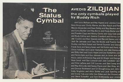 Buddy Rich Avedis Zildjian Cymbals Photo (1968)