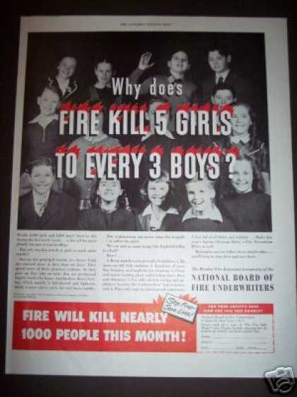 Insurance Ad Fire Kills 5 Girls To 3 Boys (1948)