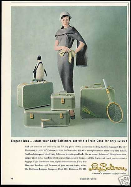 Lady Baltimore Luggage Penguin Photo Vintage (1958)