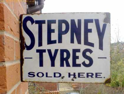 Stepney Tyres Sold Here Enamel Sign