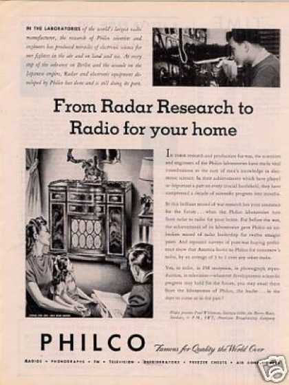 "Philco Radio Ad ""From Radar To Research... (1945)"