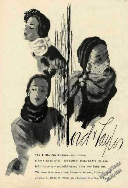 The Little Fur Choker Lord &amp; Taylor Drawings (1947)