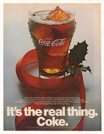 Coke Coca-Cola Glass Holiday Ribbon (1970)