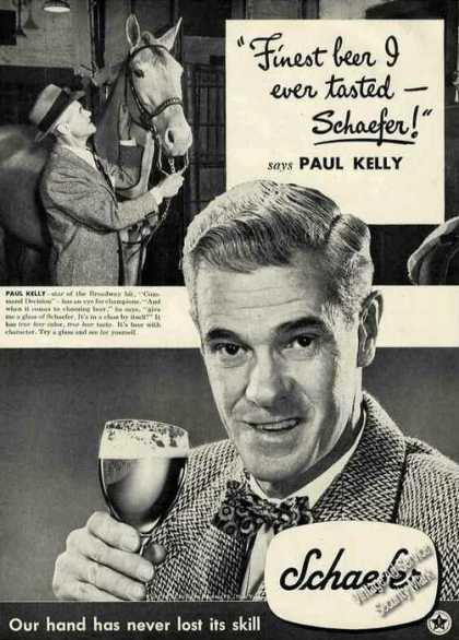 Schaefer Beer Paul Kelly Photos Endorsement (1948)