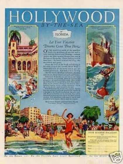 Hollywood By-the-sea Hotel Color Ad Florida (1926)