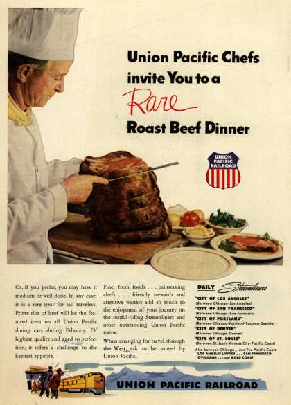Union Pacific Railroad's Fine Food – Union Pacific Chefs invite You to a Rare Roast Beef Dinner (1953)