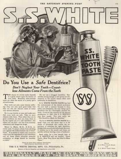 S. S. White Dental Manufacturing Co.'s tooth paste – Do You Use a Safe Dentifrice? (1919)