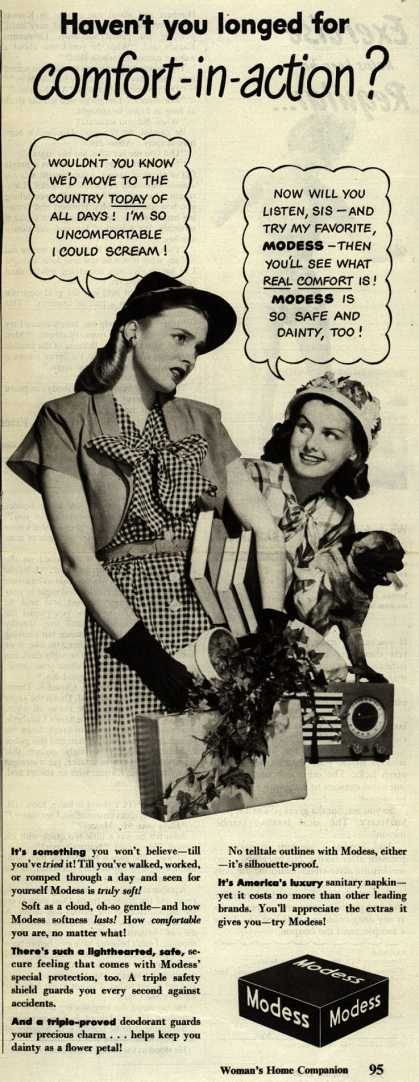 Modes's Sanitary Napkins – Haven't you longed for comfort-in-action? (1946)