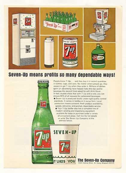 7-Up Bottles Cup Can Profits Many Ways Trade (1965)
