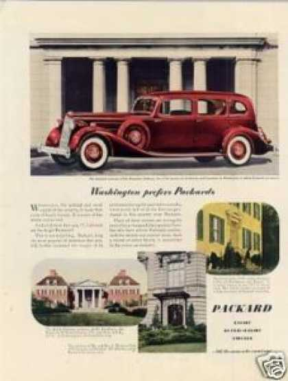 "Packard Car Color Ad ""Washington Prefers... (1936)"