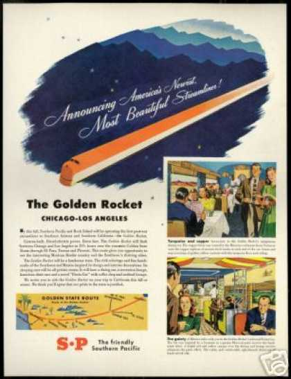 SP Southern Pacific Train Railroad Vintage Art (1947)