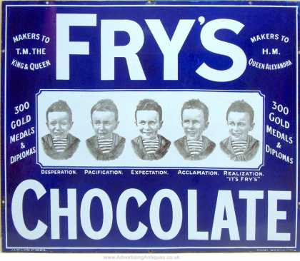 Fry's Five Boys Chocolate Enamel Sign