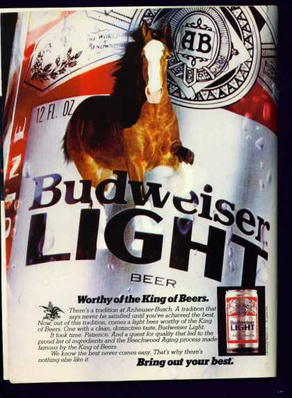 Early Budweiser Light Beer C Ad With Clydesdale (1982)