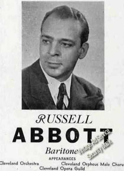 Russell Abbott Photo Baritone Opera Trade Ad Music (1946)