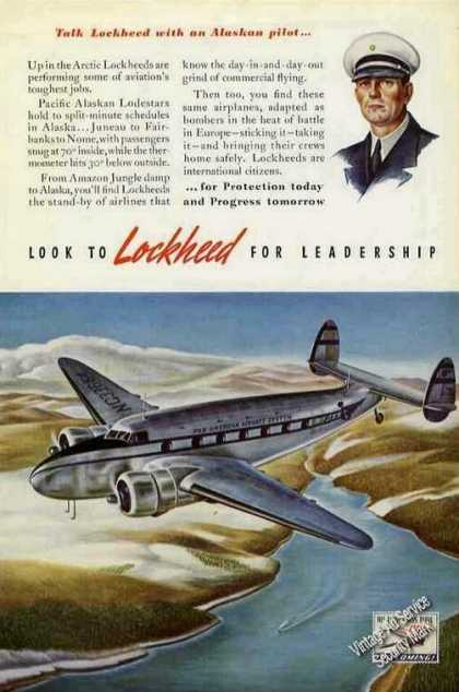 Pan Am Lockheed Lodestar Art Alaskan Pilot (1941)