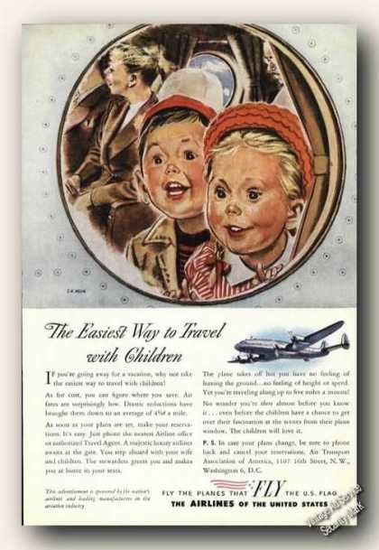 Fly Us Flag Airlines Constellation Ad Child Art (1947)