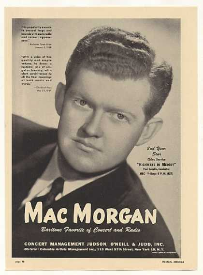 Baritone Mac Morgan Photo (1948)