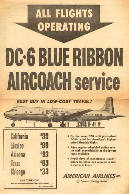 American Airlines – All Flights Operating DC-6 Blue Ribbon Aircoach Service (1954)