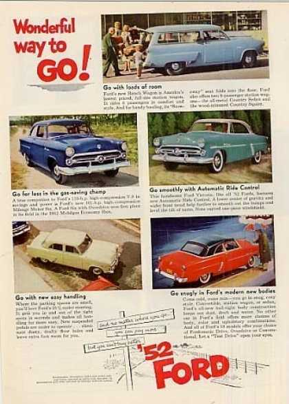 "Ford Cars Ad ""Wonderful Way To Go... (1952)"