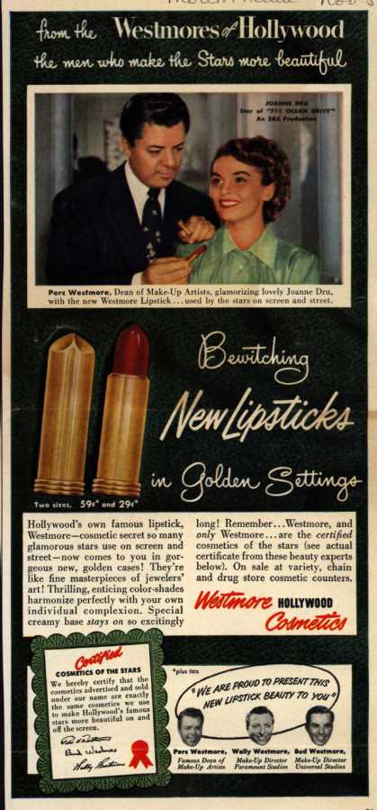 Westmore Cosmetic's Various – Bewitching New Lipstick in Golden Settings (1950)