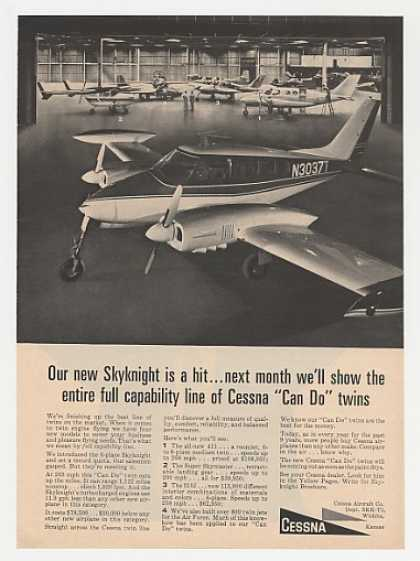 Cessna Aircraft Skyknight Twin Airplane Photo (1965)