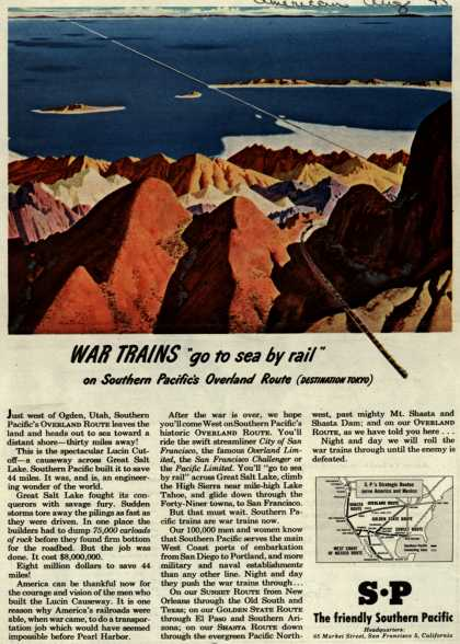 "Southern Pacific's Overland Route – War Trains ""go to sea by rail"" (1945)"