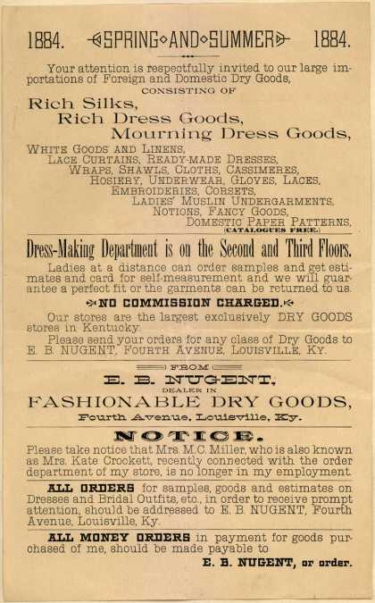 E. B. Nugent's dry goods (foreign and domestic) – Spring and Summer ... (1884)