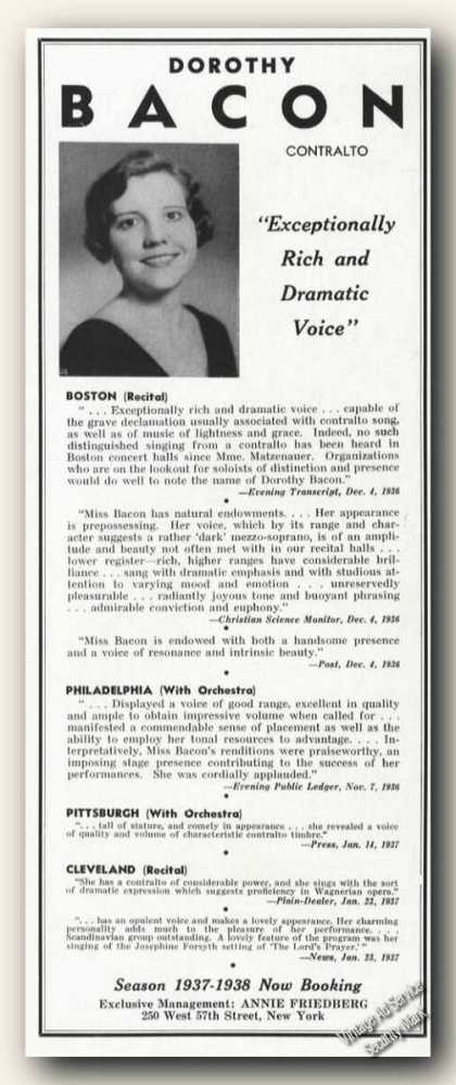 Dorothy Bacon Photo Contralto Rare Ad Music (1937)