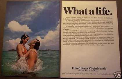 Couple Swimming Virgin Islands 2pg Travel (1975)