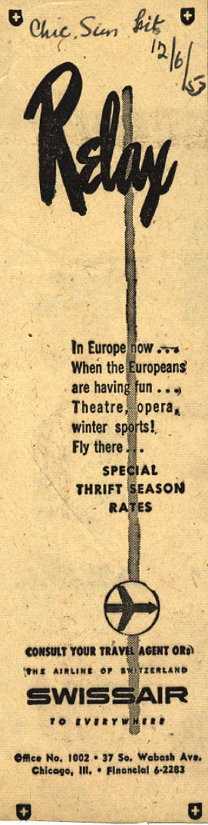 SwissAir's Thrift Season Rates – Relax (1953)