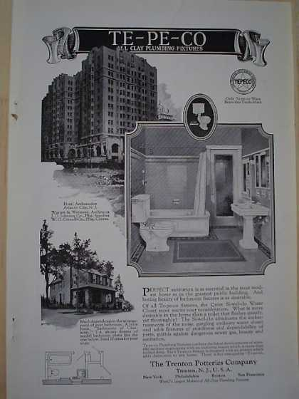 Te Pe Co Trenton Potteries Co Clay Plumbing Fixtures Hotel Ambassador Atlantic City NJ (1926)
