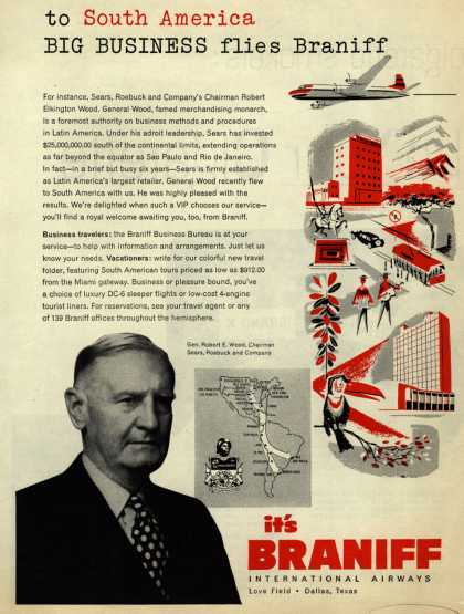 Braniff International Airway's Business Travel – To South America Big Business flies Braniff (1953)