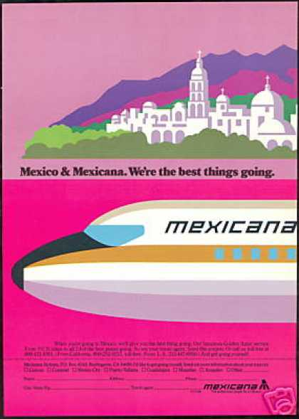 Mexicana Mexico Airlines Plane Church Art (1978)