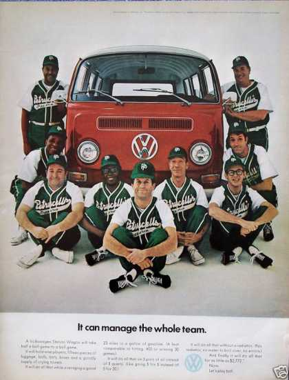 Volkswagen Station Wagon Bus Softball Team Manage (1970)