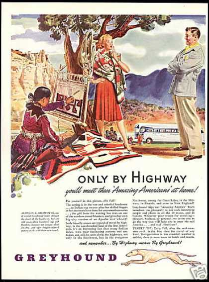 Indian Rug Weaver Southwest Greyhound bus (1946)