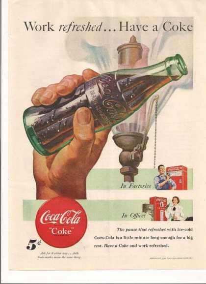 Work Refreshed Have a Coca Cola Soda (1948)