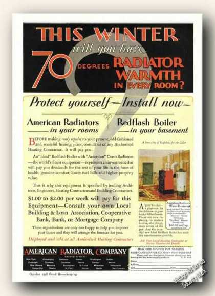 American Radiators Redflash Boilers Antique (1928)
