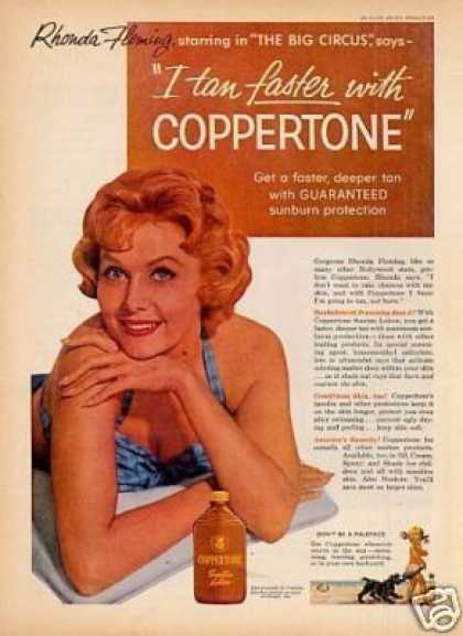 Coppertone Suntan Lotion Ad Rhonda Fleming (1959)
