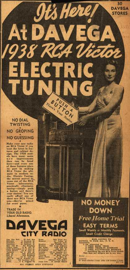 Radio Corporation of America's RCA Victor – It's Here! At Davega 1938 RCA Victor Electric Tuning (1937)
