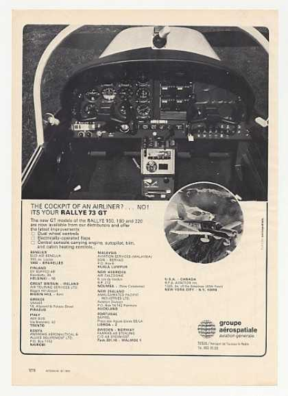 Aerospatiale Rallye 73 GT Plane Cockpit Photo (1972)