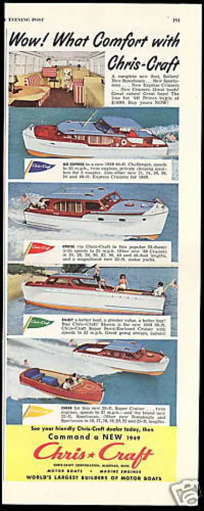 Chris Craft Boat Yacht 40, 33, 26, 28 Ft (1949)