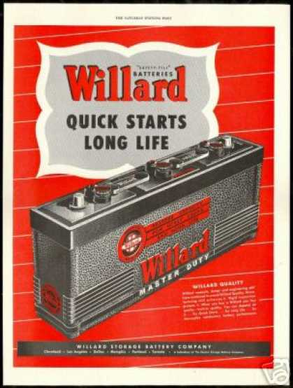 Willard Automotive Battery Batteries Vintage (1948)