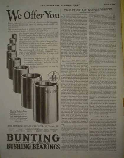 Bunting Bushing Bearings Phosfhor bronze (1928)