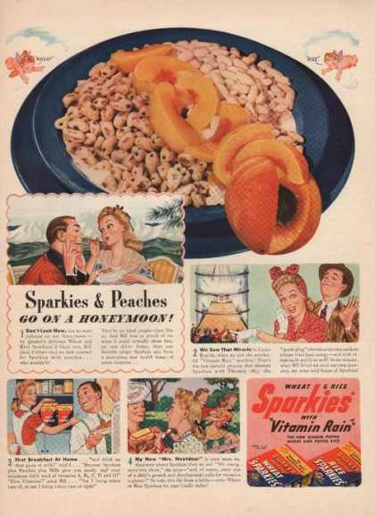 Sparkies & Peaches On Honeymoon Cereal (1941)