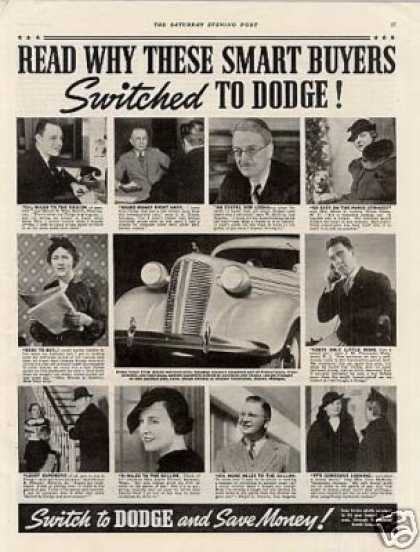 "Dodge Car Ad ""Read Why These... (1937)"